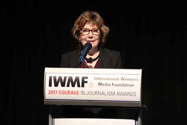 Deborah Amos from NPR accepts the 2017 Courage in Journalism Award in Washington D.C.