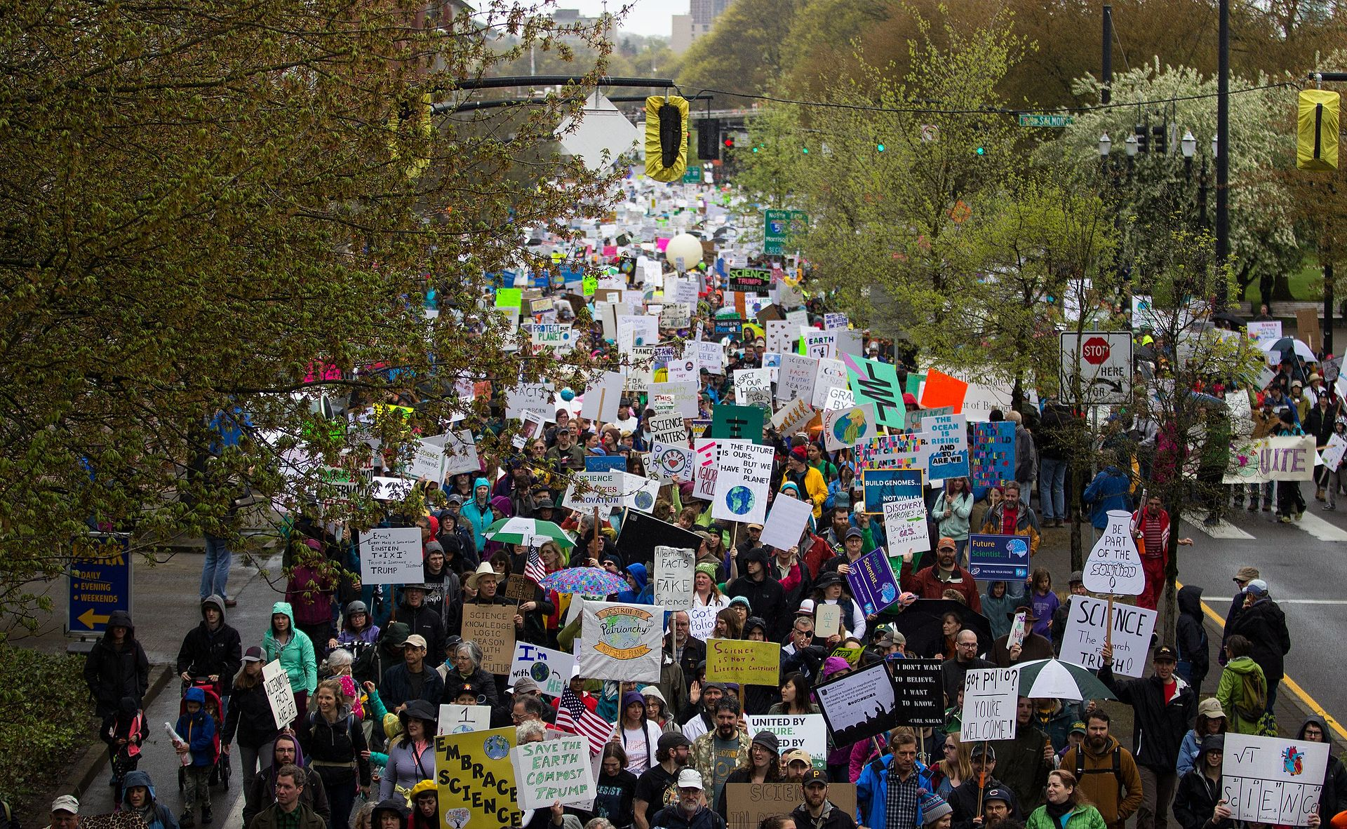 Thousands of science marchers huddled en masse in downtown Portland, Oregon.